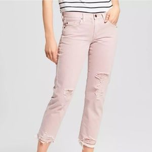NWT Mossimo Pink Ripped Boyfriend Crop Jeans 12